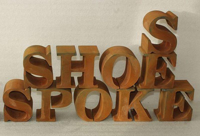 3D Buchstaben, Rostbuchstaben, Rostlack Effekt, Styrodurbuchstaben, XPS Hartschaum Buchstaben, 3D Logo, Vintage Buchstaben
