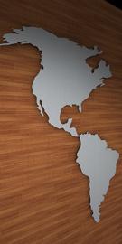 B3D-Studio: 3D Weltkarte, Weltkarte aus Dibond, Wandkarte aus Dibond
